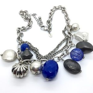 CHICO's Silver and Blue Statement Necklace